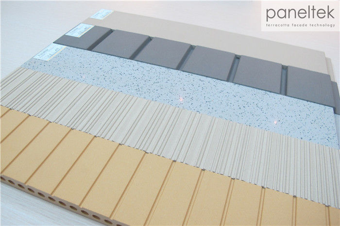Ceramic Wall Cladding : High strength terracotta panels ceramic lined grooved